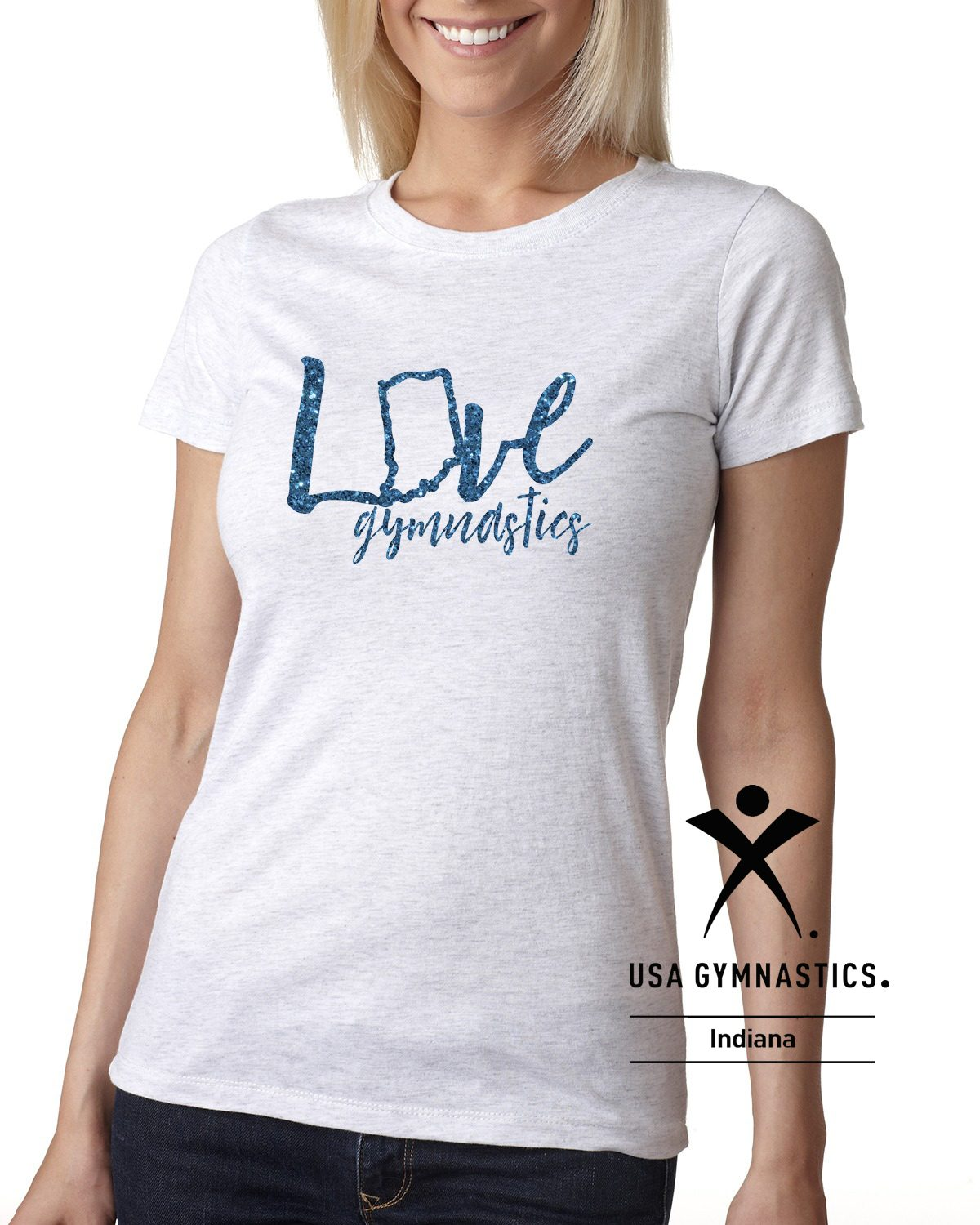 Indiana USA Gymnastics LOVE Gymnastics Ladies Tee